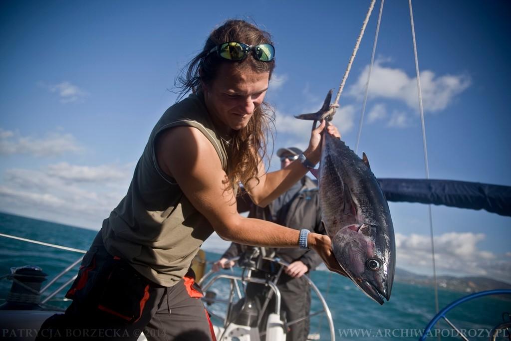 Na jachcie udaje się złapać tuńczyka, który wedle tradycji musi zawisnąć na bomie jako trofeum.